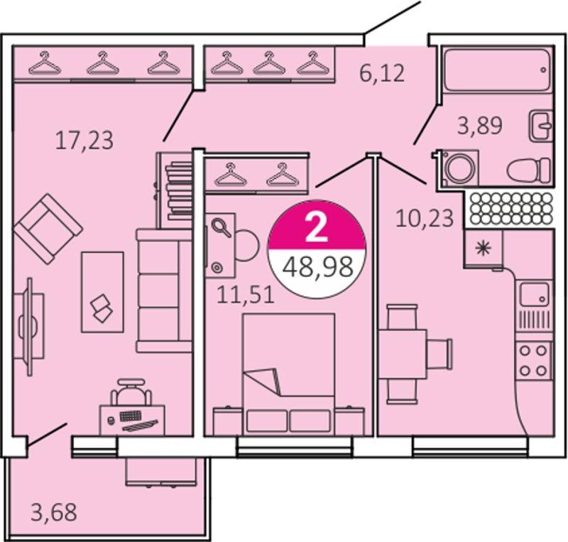 Планировка Двухкомнатная квартира площадью 48.98 кв.м в ЖК «КосмосСтар»