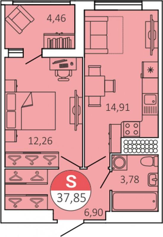 Планировка Однокомнатная квартира площадью 37.85 кв.м в ЖК «КосмосСтар»