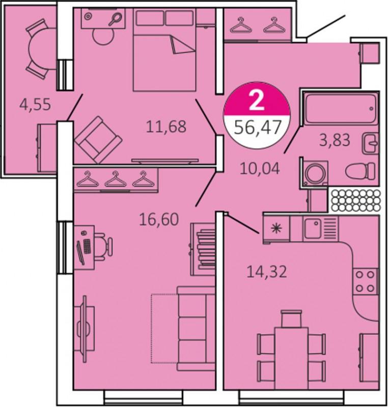 Планировка Двухкомнатная квартира площадью 56.47 кв.м в ЖК «КосмосСтар»