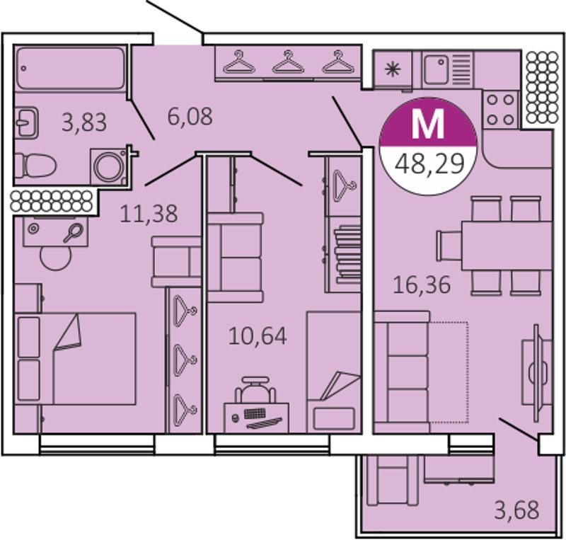 Планировка Двухкомнатная квартира площадью 48.29 кв.м в ЖК «КосмосСтар»